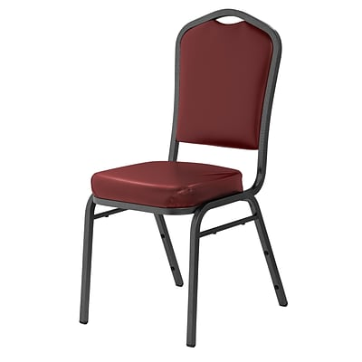 NPS #9308-SV Silhouette-Back Vinyl Padded Stack Chair, Pleasant Burgundy/Silvervein - 20 Pack