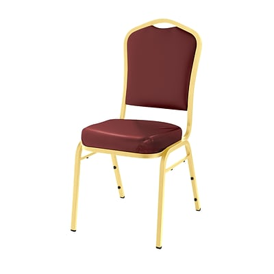 NPS #9308-G Silhouette-Back Vinyl Padded Stack Chair, Pleasant Burgundy/Gold - 20 Pack