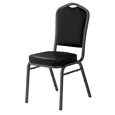 NPS #9310-SV Silhouette-Back Vinyl Padded Stack Chair, Panther Black/Silvervein - 40 Pack