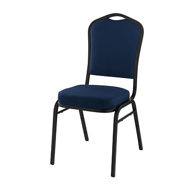NPS #9354-BT Silhouette-Back Fabric Padded Stack Chair, Midnight Blue/Black Sandtex - 40 Pack