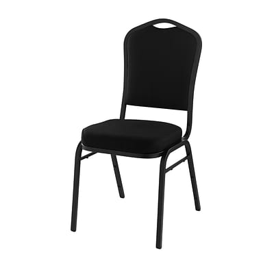 NPS #9360-BT Silhouette-Back Fabric Padded Stack Chair, Ebony Black/Black Sandtex - 20 Pack