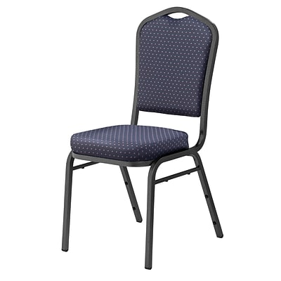 NPS #9364-SV Silhouette-Back Fabric Padded Stack Chair, Diamond Navy/Silvervein - 40 Pack