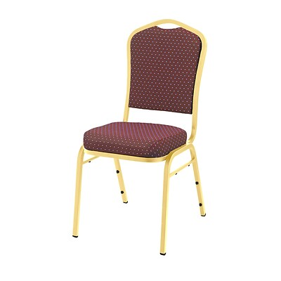 NPS #9368-G Silhouette-Back Fabric Padded Stack Chair, Diamond Burgundy/Gold - 40 Pack