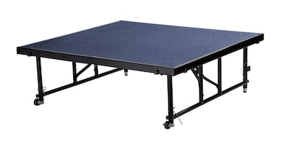 "National Public Seating Transfix 16"" To 24"" Adjustable Height Portable Stage With Carpet, Blue (tfxs"