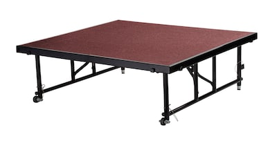 "National Public Seating Transfix 16"" To 24"" Adjustable Height Portable Stage With Red Carpet (tfxs48"