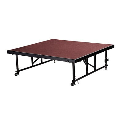 National Public Seating Transfix 16 to 24 Adjustable Height Portable Stage with Red Carpet (TFXS48