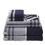 IZOD Oxford 6 Piece Towel Set; Navy Blue