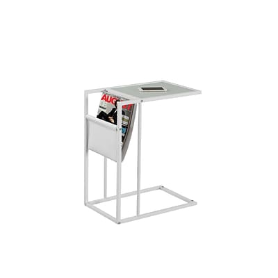 Monarch Specialties Accent Table in White With A Magazine Rack ( I 3067 )