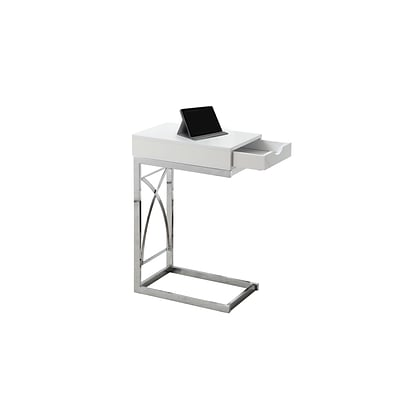 Monarch Specialties Accent Table In Chrome and Glossy White