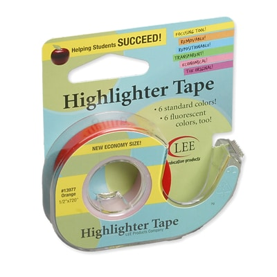 Lee Products Removable Highlighter Tape, 3W x 4L, Orange