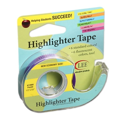 Lee Products Removable Highlighter Tape, 3W x 4L, Purple