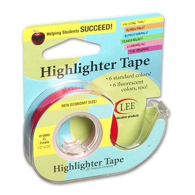 Lee Products Removable Highlighter Tape, 3W x 4L, Fluorescent Purple