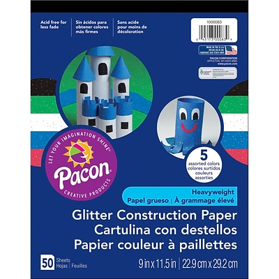 Pacon Corporation 9 x 11-1/2 Glitter Construction Paper, Assorted Colors (PAC1000083)