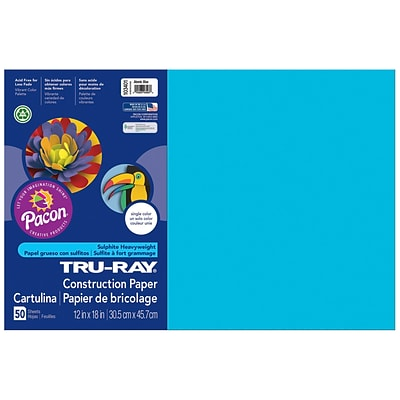 Pacon Corporation Tru-Ray® Fade-Resistant Construction Paper, 12 x 18, Atomic Blue  (PAC103401)