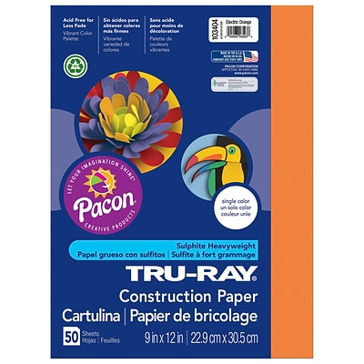 Pacon Corporation Tru-Ray® Fade-Resistant Construction Paper, 9 x 12, Electric Orange (PAC103404)