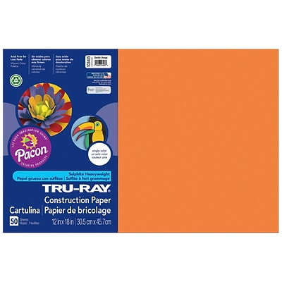 Pacon Corporation Tru-Ray® Fade-Resistant Construction Paper, 12 x 18, Electric Orange (PAC103405)