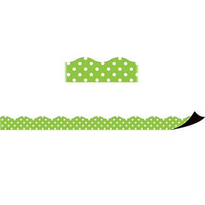 Teacher Created Resources Magnetic Borders, Lime Polka Dots (24 x 1.5)