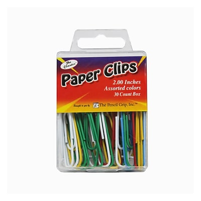 The Pencil Grip® Vinyl Jumbo Paper Clips; Assorted Colors, 2, 30 Count