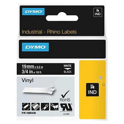Dymo® 1805436 Color Coded 3/4 Label; White on Black