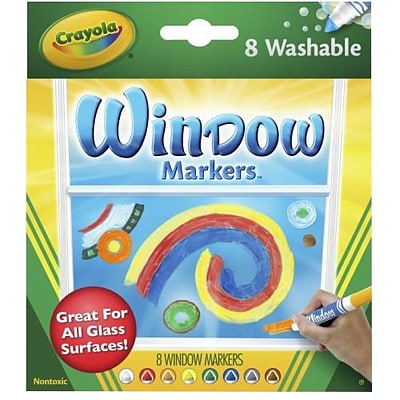 Binney & Smith Crayola® Washable Window Markers, Conical Tip, 8/Pk