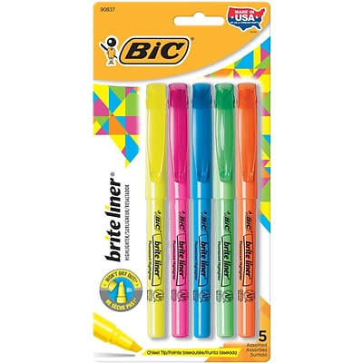 BIC Brite Liner Pen Style Highlighters, Chisel Tip, Assorted, 5/Pk (BLP51WAST)
