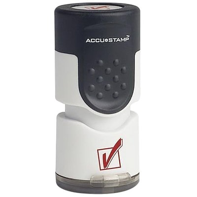 Accu-Stamp® One-Color Pre-Inked Round Stamp, Check Mark Symbol , 5/8 diameter, Red Ink (035658)