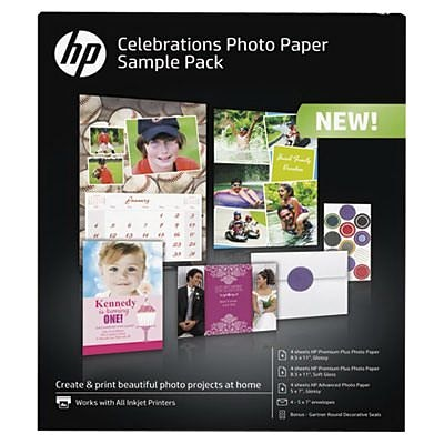 HP® Celebration Photo Paper Sample Pack, 8.5 x 11, White (K0A21A)