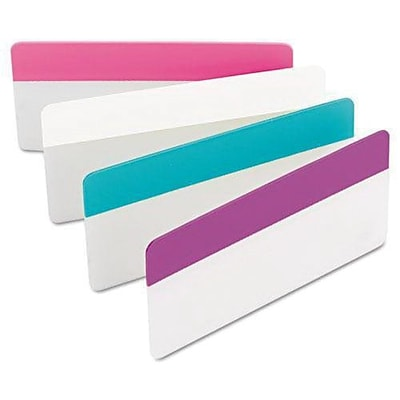 Post-it Durable File Tabs, 3 x 1 1/2, Pink, White, Aqua, Violet, 24/Pk (686-PWAV3IN)