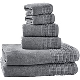 Bonita 100pct Egyptian Cotton Jacquard 6 Piece Towel Set; Silver