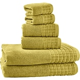 Bonita 100pct Egyptian Cotton Jacquard 6 Piece Towel Set; Cream Gold