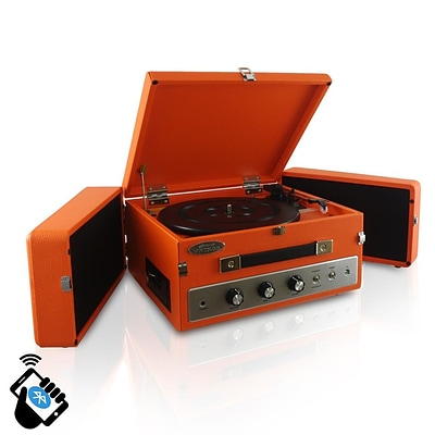 PyleHome Retro Vintage Classic Style Bluetooth Turntable Record Player; 110 V (pltt82btor)