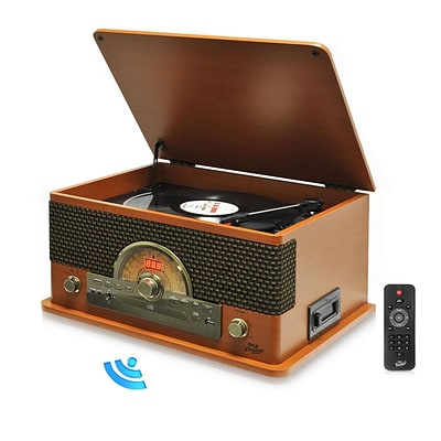 Pyle Vintage Retro Classic Style Bluetooth Turntable System; 110/220 V (ptcd56ubwd)