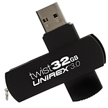 Unirex 32GB 128 Mbps Read/56 Mbps Write USB 3.0 Flash Drive, Black (usft-332s)