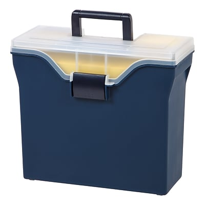 Quill Brand® Portable Plastic File Box with Organizer Top; Navy