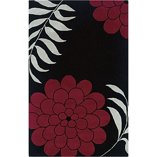 Rizzy Home Fusion Collection New Zealand Wool Blend 8x10 Black (FUSFN103500060810)