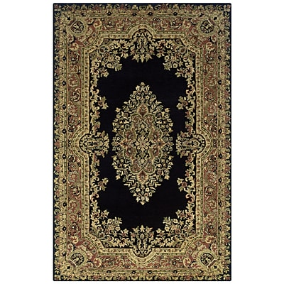 Rizzy Home Shine Collection 100% Semi-Worsted New Zealand Wool 5x8 Black (SHISN035106750508)