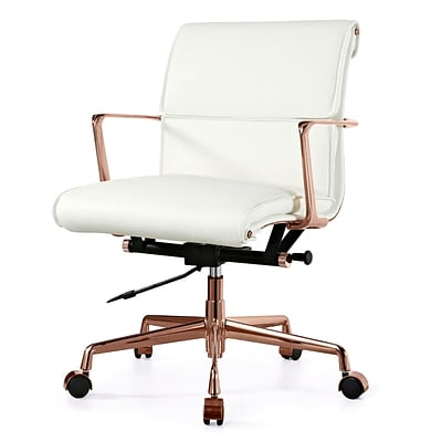 Meelano M347 Genuine Italian Leather Executive Office Chair; White (347-RG-WHI)