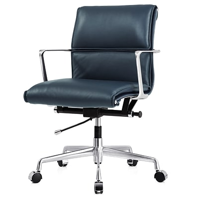 Meelano M347 Genuine Italian Leather Executive Office Chair Navy Blue 347 Nvy