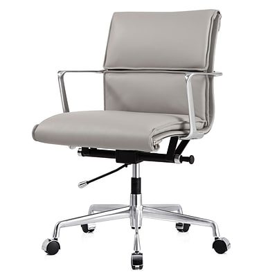 Meelano M347 Genuine Italian Leather Executive Office Chair; Grey (347-GRY)