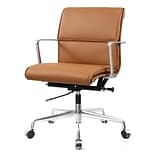 Meelano M347 Genuine Italian Leather Executive Office Chair; Brown (347-BRN)