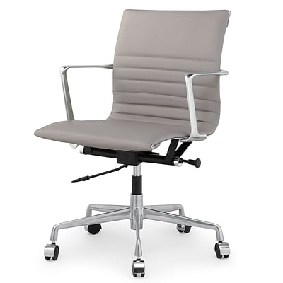 Meelano M346 Genuine Italian Leather Executive Office Chair; Grey (346-GRY)