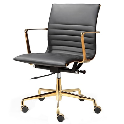 Meelano M346 Genuine Italian Leather Executive Office Chair; Black (346-GD-BLK)