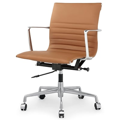 Meelano M346 Genuine Italian Leather Executive Office Chair; Brown (346-BRN)
