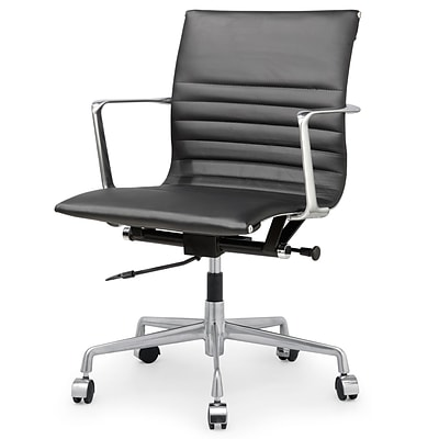 Meelano M346 Genuine Italian Leather Executive Office Chair; Black (346-BLK)