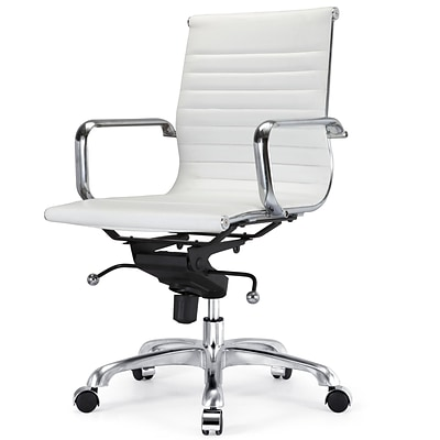 Meelano M344 Vegan Leather Executive Office Chair; White (344-WHI)