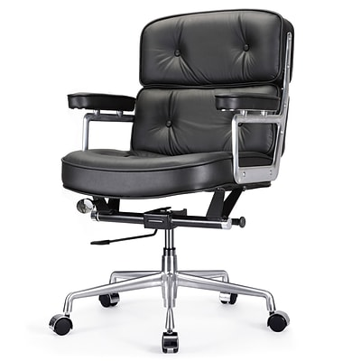 Meelano M340 Genuine Italian Leather Executive Office Chair; Black (340-BLK)