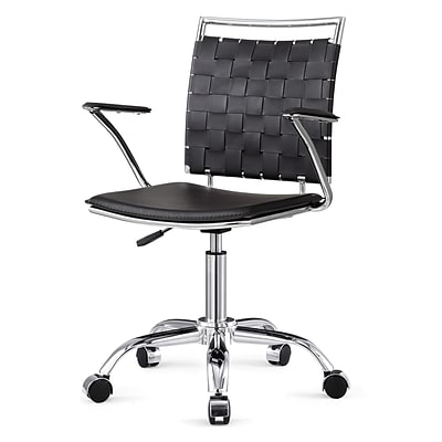 Meelano M356 Bonded Leather Mid-Back Office Chair; Black  (356-BLK)