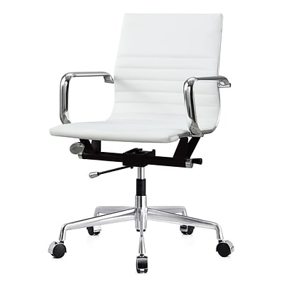 Meelano M348 Genuine Vegan Leather Executive Office Chair; White (348-WHI)