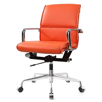 Meelano M330 Genuine Vegan Leather executive Office Chair; Orange (330-ORN)