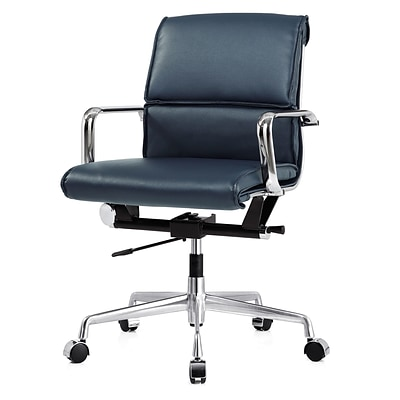 Meelano M330 Genuine Vegan Leather executive Office Chair; Navy Blue (330-NVY)